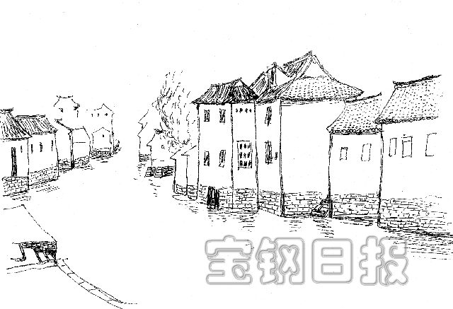 乌镇建筑手绘图